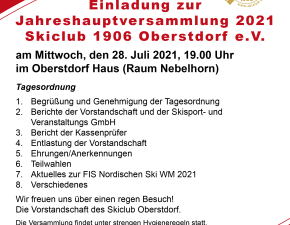 Jahreshauptversammlung 2021 Tagesordnung