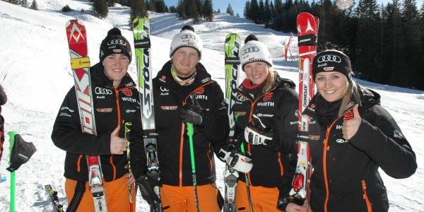 Die Top-Athleten des Deutschen Skiverbandes: Anna Wörner, Simon Stickl, Sabrina Weilharter und Christina Manhard