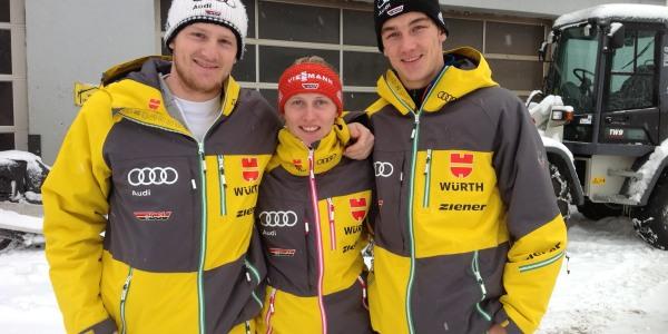 Die deutschen Skicrosser (von links): Simon Stickl, Julia Eichinger und Daniel Bohnacker.