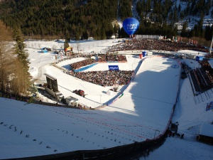 Blick auf das Stadion der Heini-Klopfer Skiflugschanze