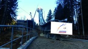 Der Umbau an der Skiflugschanze läuft auf Hochtouren