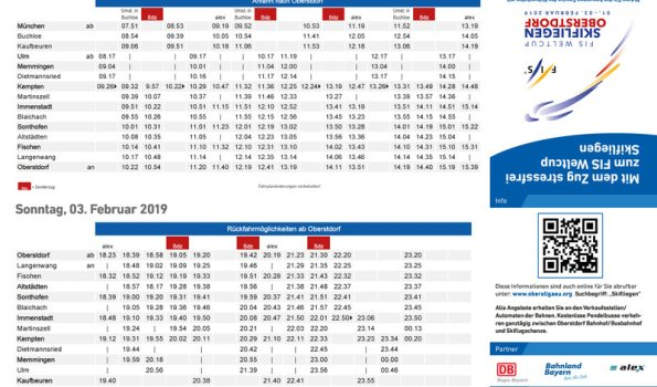Skifliegen Zugfahrplan 2019