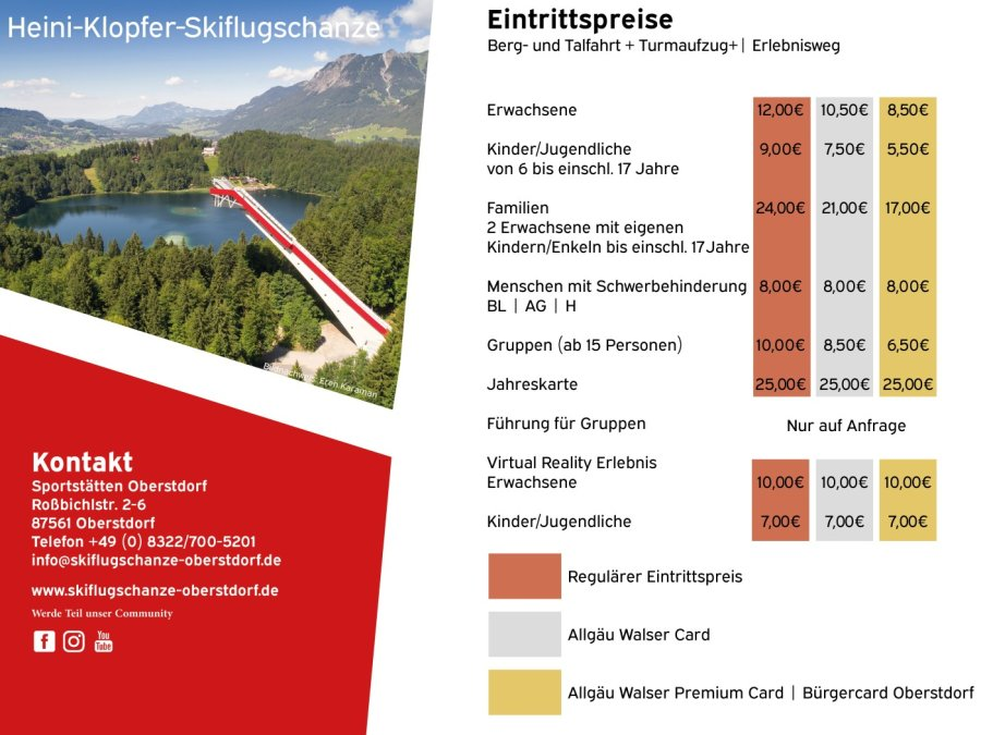 Preisinfo Skidata Terminal - Sommer 2020