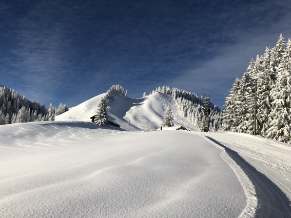 Schritt für Schritt auf die verschneite Alpspitze