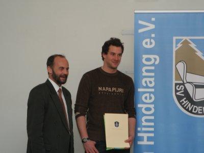 Ehrung des deutschen Abfahrtsmeisters Hannes Wagner durch Bürgermeister Roman Haug