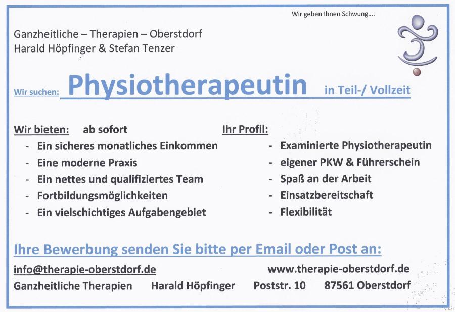Stellenanzeige Physiotherapie