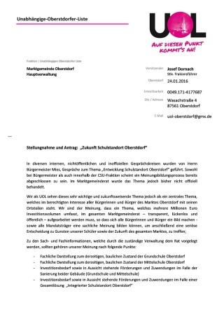Antrag und offener Brief Schulstandort