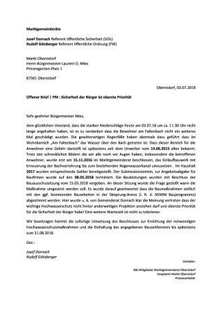 Offener Brief Faltenbach 03.07.2018