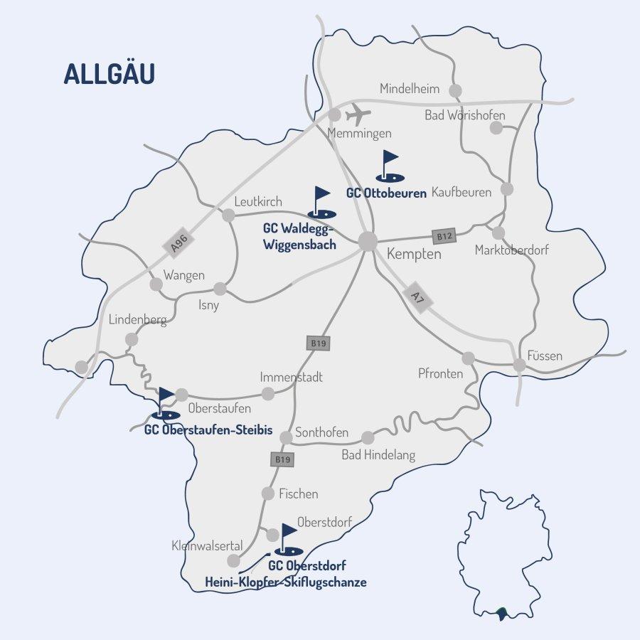 Vierplätzetournee 2020 - Golfkarte Allgäu alle Plätze blau Homepage Tourneeplätze-01
