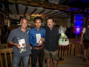 Die drei Sieger des Skiflugschanzen-Shots (vl.): Stefan Pilz (2.), Ramon Boss (1.) und Christian Seeh (3.)