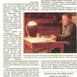 Alf Setzer: Artikel in der Allgäuer Zeitung
