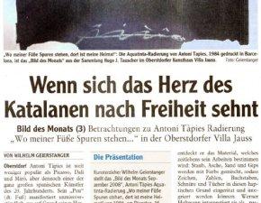 Betrachtungen zu Antoni Tapies - Artikel Allgäuer Zeitung