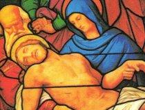 Joseph Anton Fischer: Glasbild von Pieta im Kölner Dom