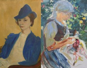 Dellgruen, Frau in Blau u. Bergmann, Nähende Frau
