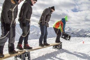 Winterolympiade in den verschneiten Allgäuer Alpen