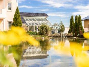 Schwimmteich mit Blick auf den Wintergarten