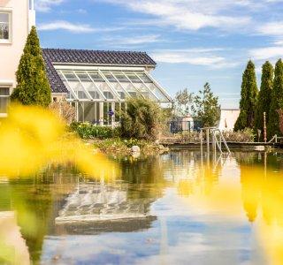 Schwimmteich mit Frühlingsblumen - Wellnesshof Blenk - 5 Sterne Ferienwohnungen in Wertach im Allgäu