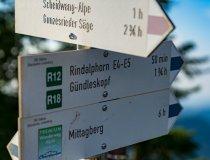 Wegweiser auf Wanderwegen - Wellnesshof Blenk - 5 Sterne Ferienwohnungen in Wertach im Allgäu