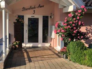 Blütenpracht im Eingangsbereich - Wellnesshof Blenk - 5 Sterne Ferienwohnungen in Wertach im Allgäu