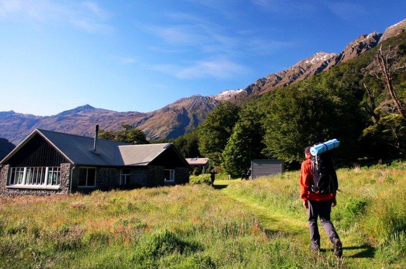 Arriving at aspiring Hut