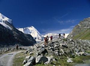 Gruppe mit Gletschermoränen