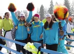 Fans feuern ihre Skistars an