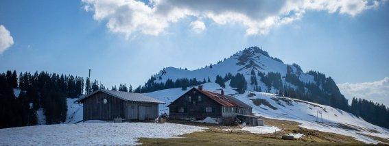Grünten im Frühling mit Hütte