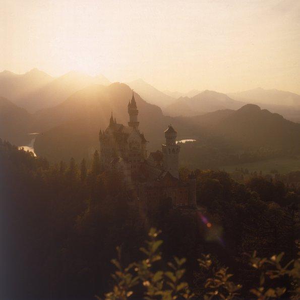 Schloß Neuschwanstein im Sonnenuntergang