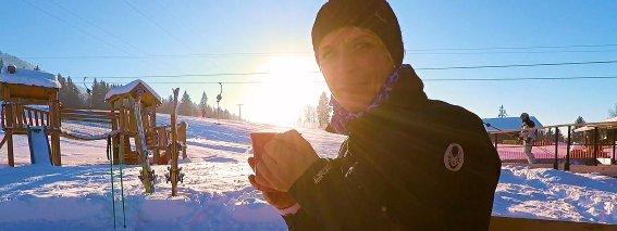 Skifahren am Buron Pause