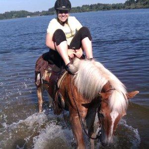 Abkühlung mit Pferd